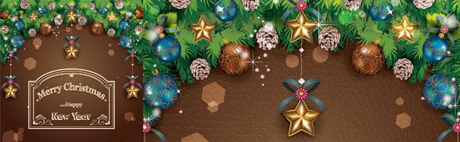 クリスマス・クリスマスツリー・星・ベル・ヒイラギ・イラスト素材・商用無料・png
