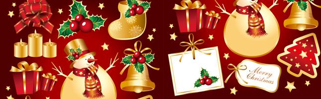 クリスマス・ゴールド・ベル・雪だるま・イラスト素材・商用無料・png