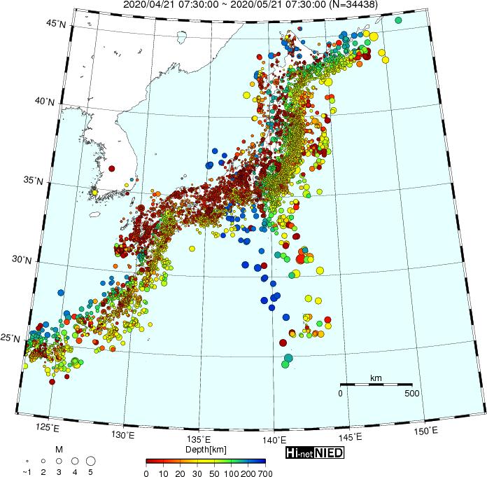 Hi-net自動処理震源マップ 2020/04/21 07:30:00~ 2020/05/21 07:30:00