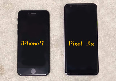 iPhone7とPixel3aのサイズ比較