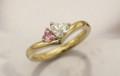 ハートのサファイヤとダイヤモンドの婚約指輪