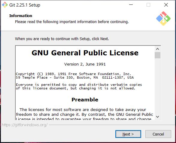 Git for Windows インストール GNUライセンス