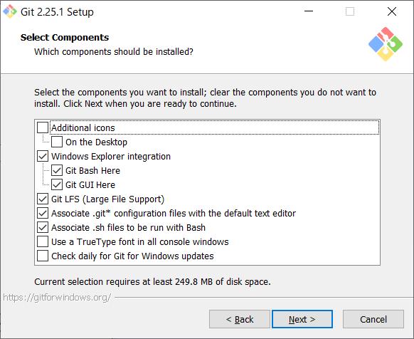 Git for Windows インストール 構成選択