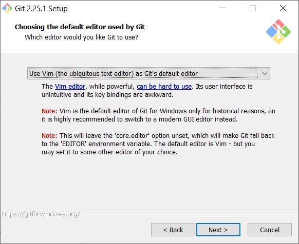 Git for Windows インストール エディタ選択