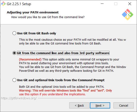 Git for Windows インストール パス設定
