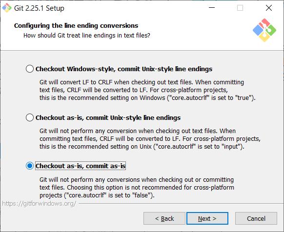 Git for Windows インストール 改行設定