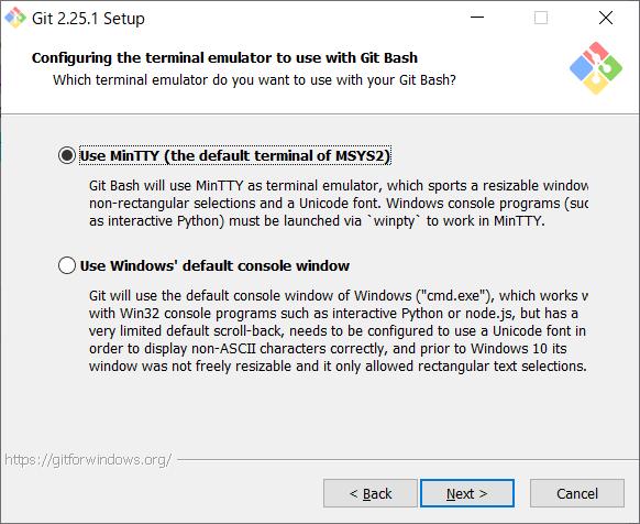 Git for Windows インストール ターミナル