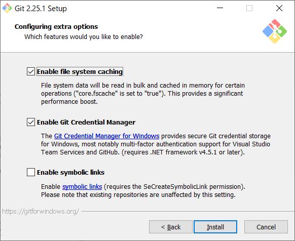 Git for Windows インストール オプション