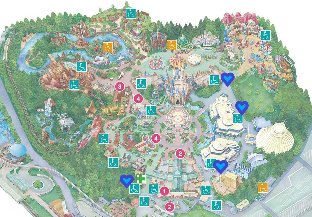 ディズニーランドバリアフリー施設地図