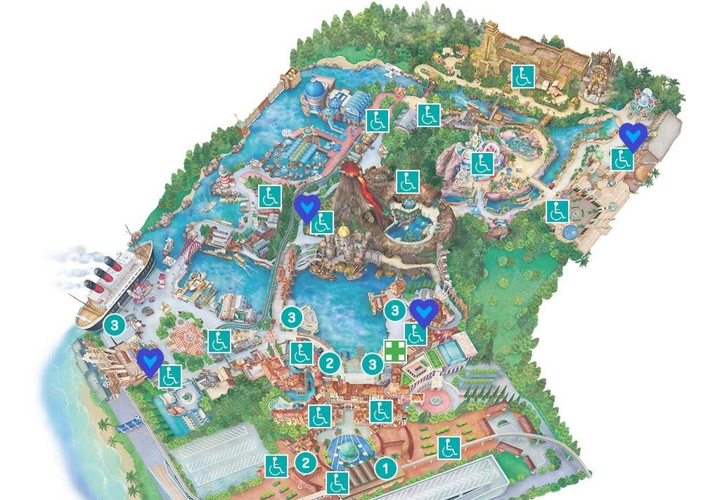 ディズニーシーバリアフリー施設地図