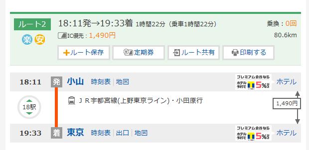小山-東京-路線情報