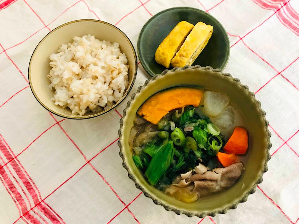 ベジ活スープ食豚汁とご飯