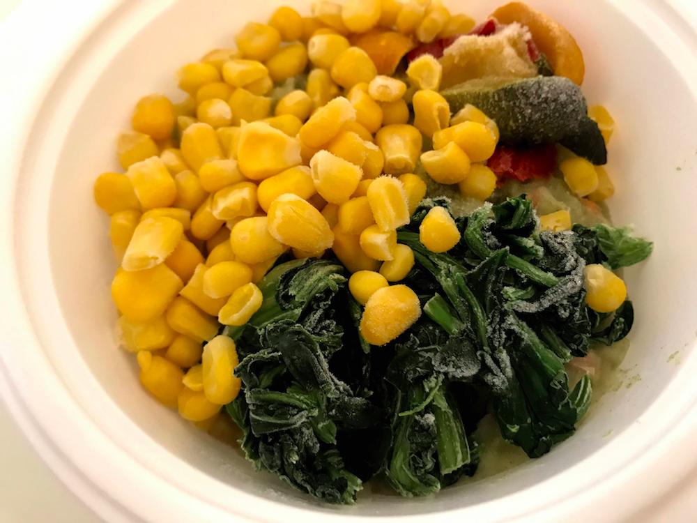 野菜を楽しむスープ食クリームほうれん草解凍前