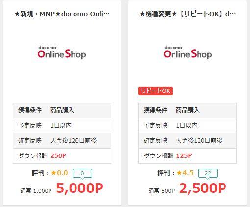 ドコモオンラインショップへの移動は、新規・MNPと機種変の2つがある