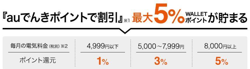 au電気の支払いは還元率5%