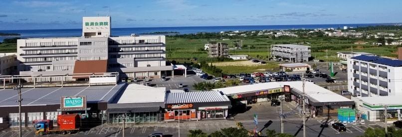 ライジングサン宮古島から見える施設はイオンやファミマ、病院もめの前