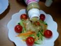 大豆ドレッシングとサラダ