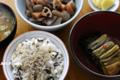 広島菜のご飯と根菜の煮物_110212