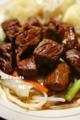 サイコロステーキon野菜炒め_171025