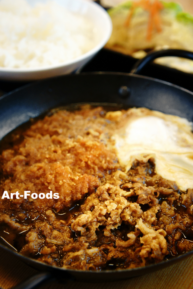 チキンカツの牛すき鍋定食_171029