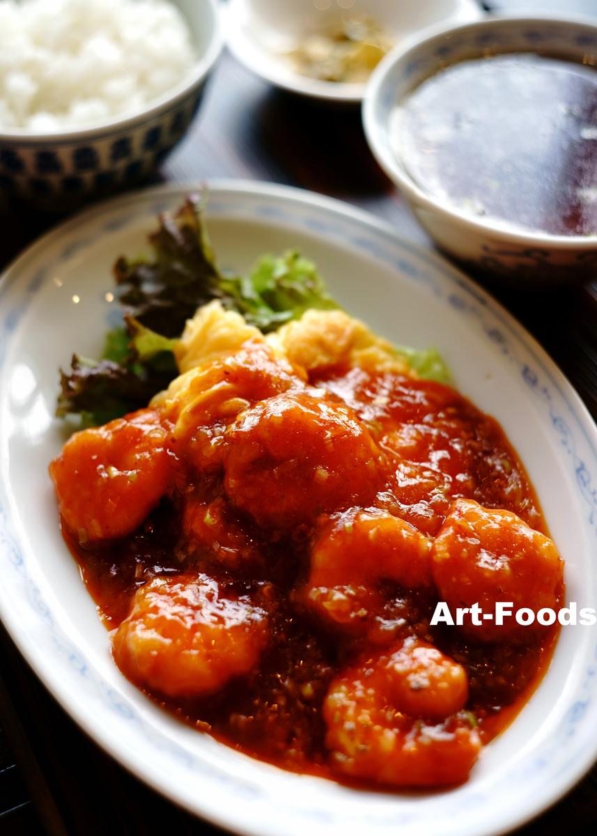 盛旺-海老と玉子のチリソース炒め定食_200712