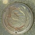 [manholecover][奈良県]宇陀郡大宇陀町(現・宇陀市) 集落排水マンホール (ホオジロとクヌギ)