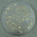 [manholecover][奈良県]高市郡高取町のマンホールのふた カエデとツツジ