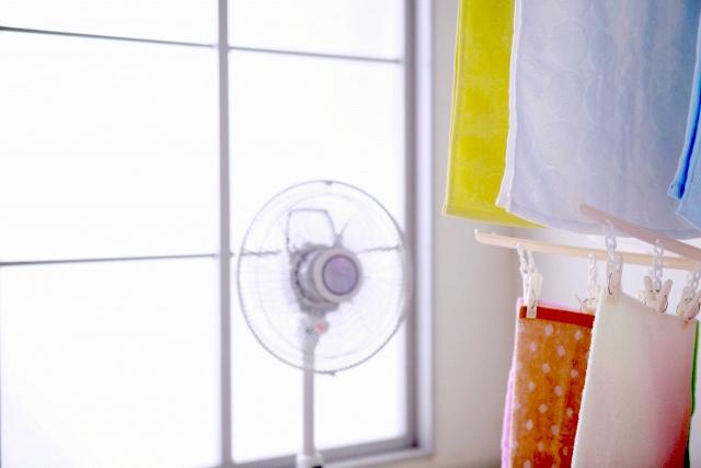扇風機で部屋干し