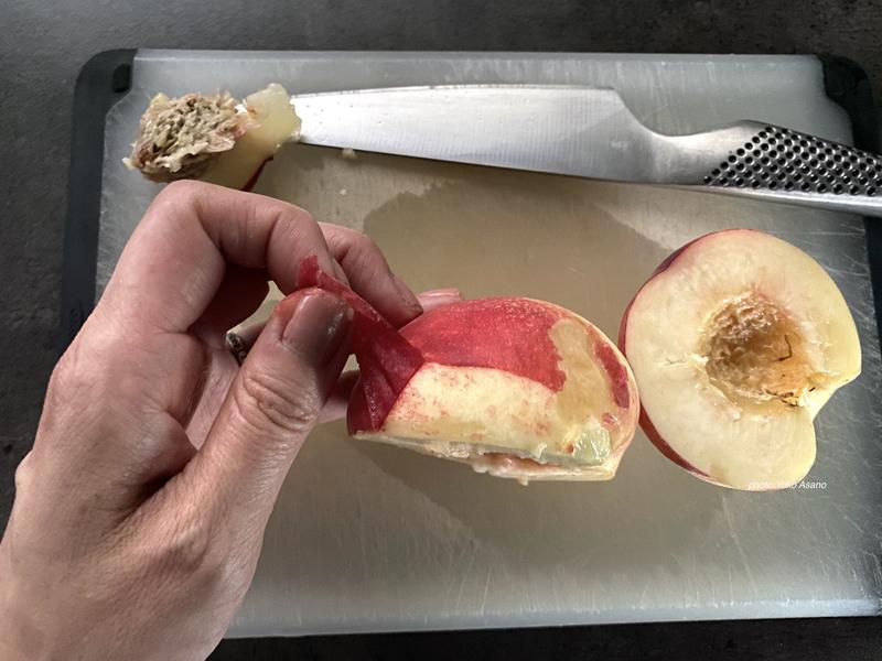 桃の下処理の画像