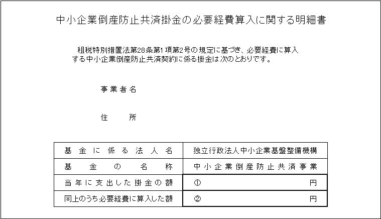 経営セーフティ共済の確定申告提出書類