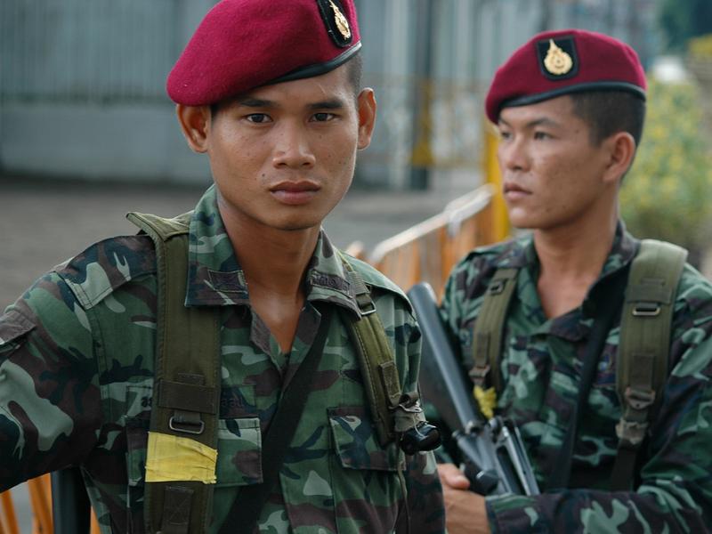 クーデター時のタイ国軍兵士
