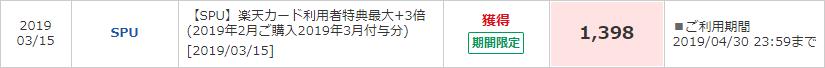 楽天SPUにより著者が2019年3月に得られた楽天ポイント