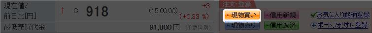 楽天証券の国内株式注文画面