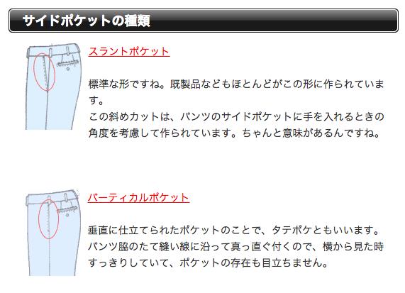 パンツのポケットの種類
