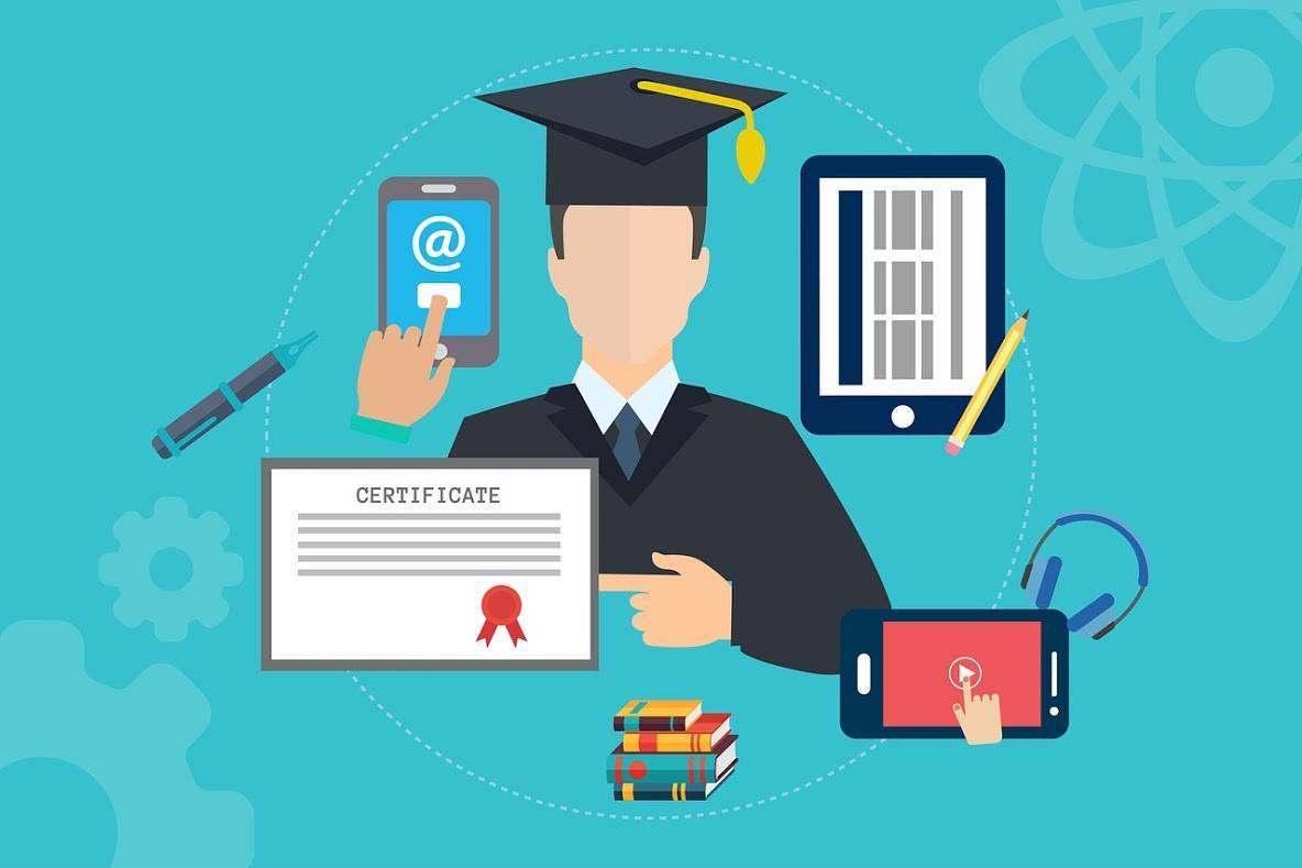 合格証書と卒業式の恰好をした男性の絵