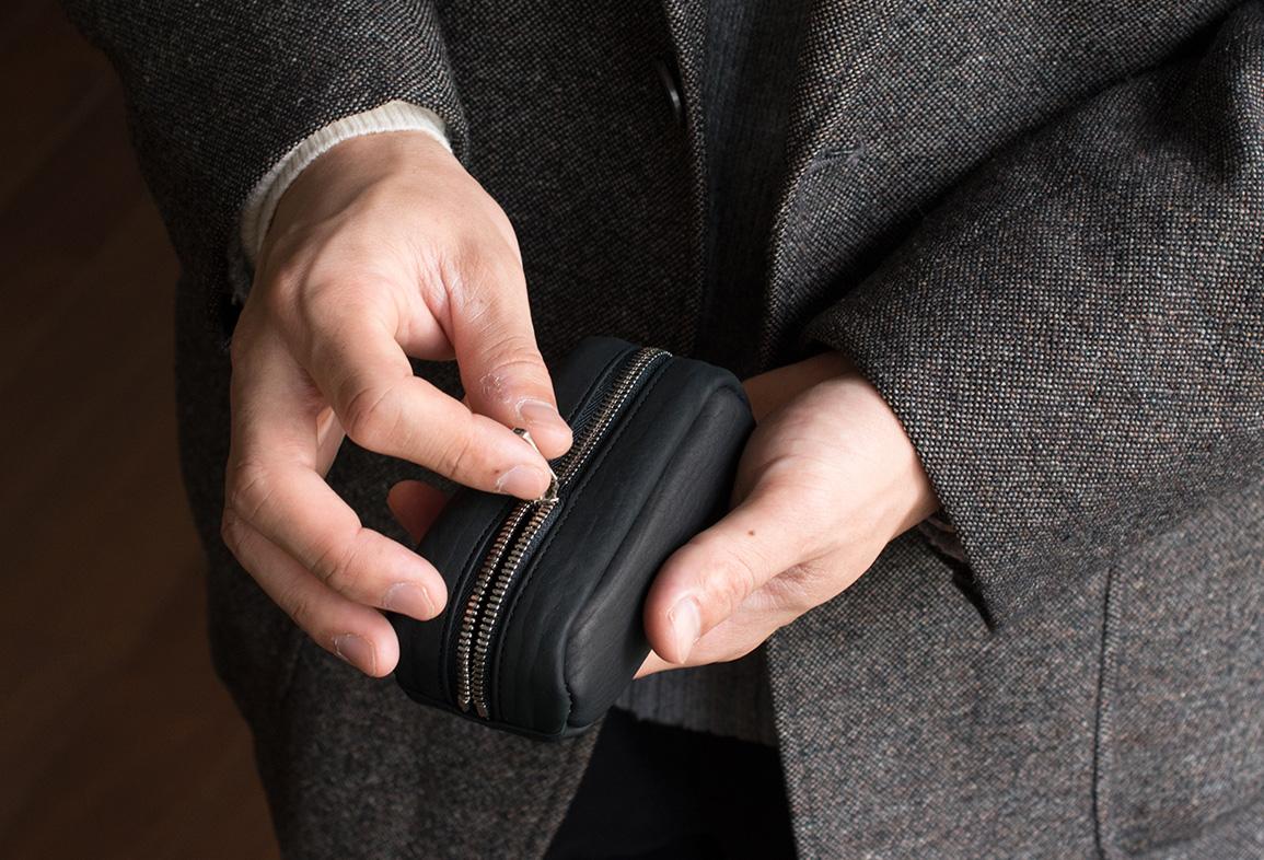 松岡皮革 本革 カーフレザー キーケース メンズ キーポーチ 日本製 ブラック MT19001