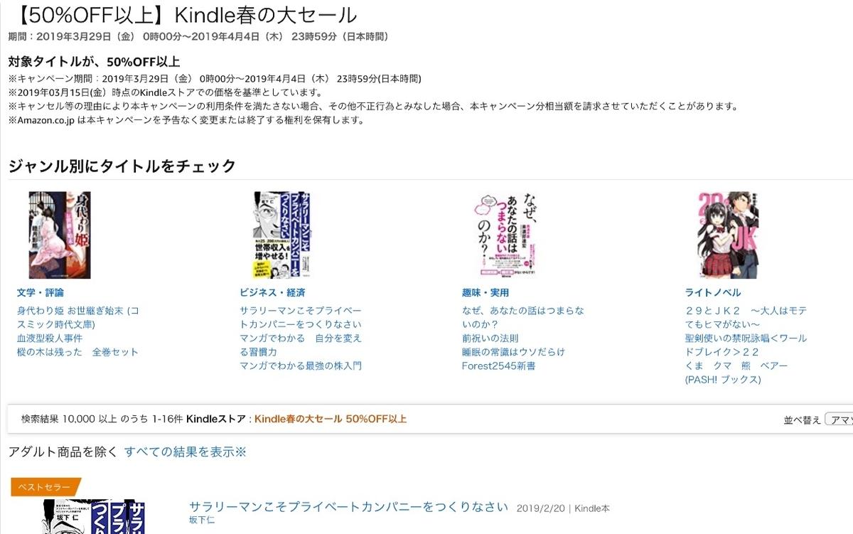 Kindle春の大セール