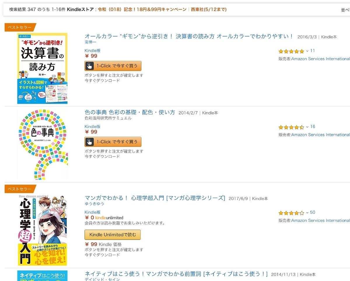 Kindleストアで令和(018)記念!18円&99円キャンペーン
