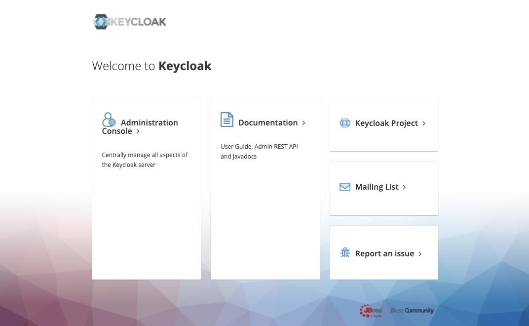 KeycloakのWelcomeページ画像