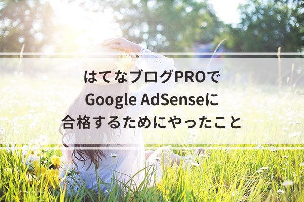 はてなブログPROでGoogle AdSenseに合格するためにやったこと