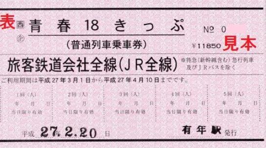 赤色の青春18きっぷ