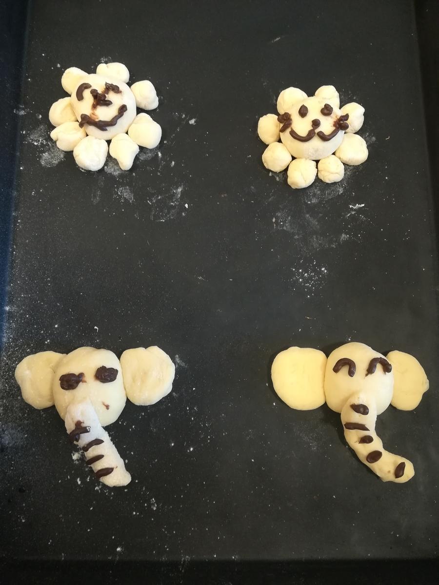 ドンクのパン作り教室 ぞうさんとライオンさんのパン