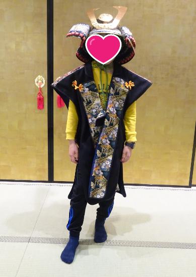 尼崎城にて 武士の衣装を着て撮影