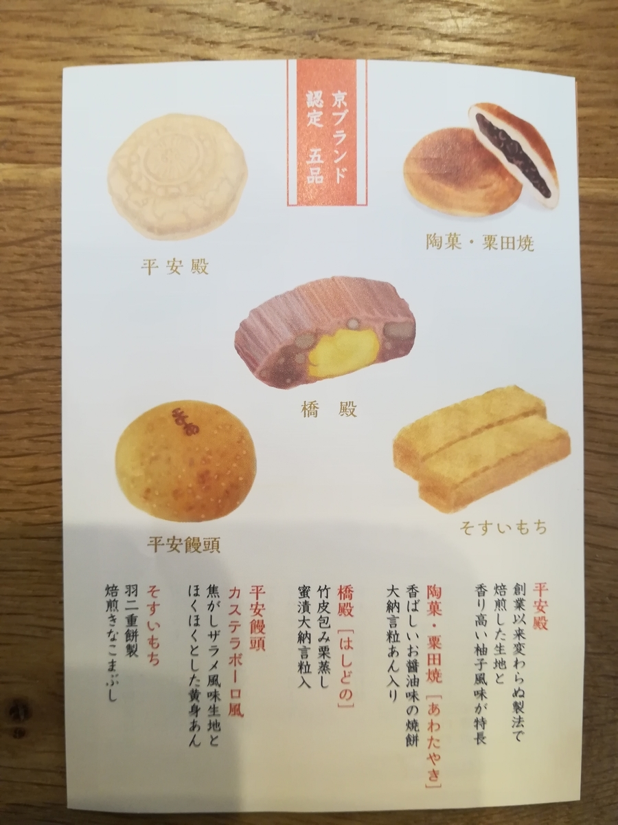平安殿 京ブランド認定菓子 パンフレット