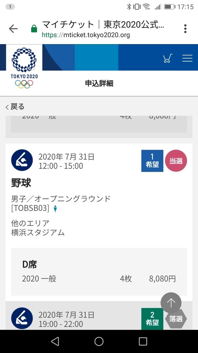 東京オリンピック 当選結果