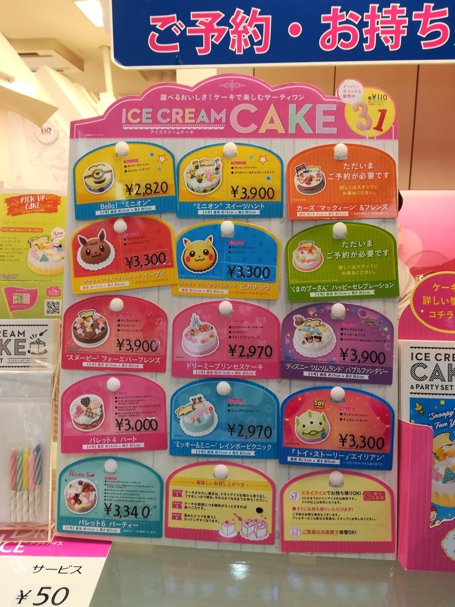 サーティーワンのアイスケーキ 一覧表