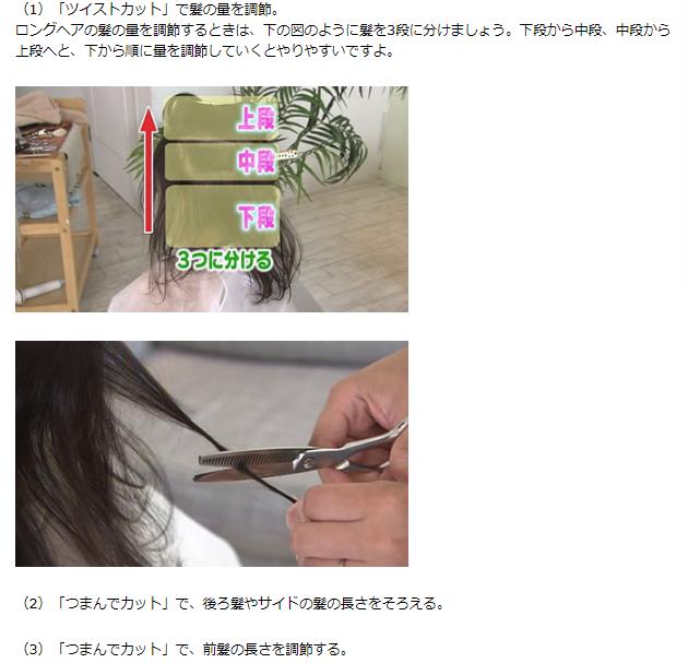 ロングヘアのカット方法