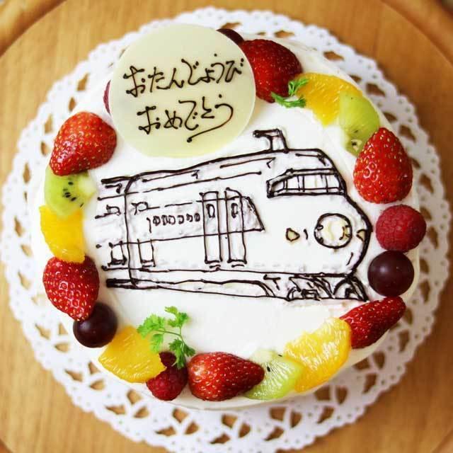 生クリームのイラストデコレーションケーキ