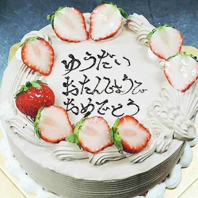 チョコ生クリームのデコレーションケーキ