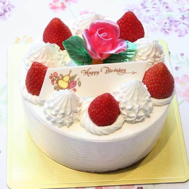 飴バラ付き生クリームデコレーションケーキ
